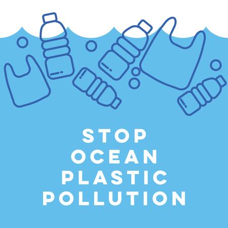 Residuos plásticos en el concepto de océano. Contaminación marítima.
