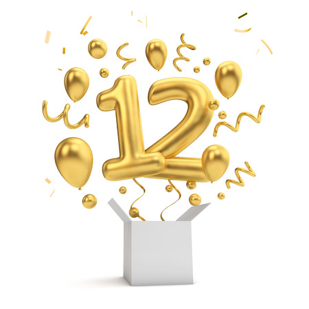 Happy 12th birthday gold surprise balloon and box. 3D Rendering Stock Photo