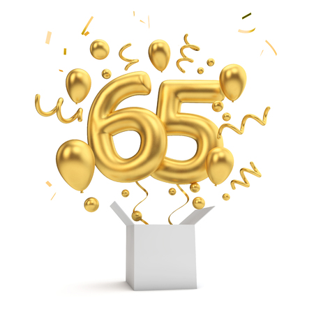 Happy 65th birthday gold surprise balloon and box. 3D Rendering Фото со стока