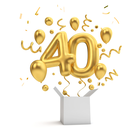 Happy 40th birthday gold surprise balloon and box. 3D Rendering Stock Photo
