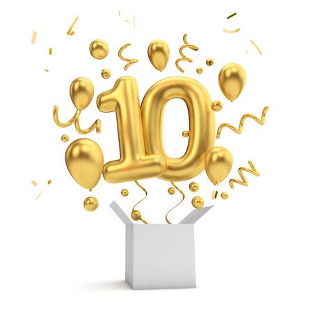 Gelukkige 10e verjaardag gouden verrassingsballon en doos. 3D-rendering