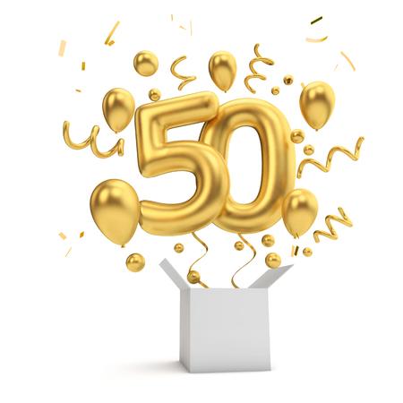Alles Gute zum 50. Geburtstag Goldüberraschungsballon und Box. 3D-Rendering