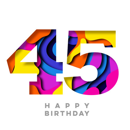 Number 45 Happy Birthday colorful paper cut out design