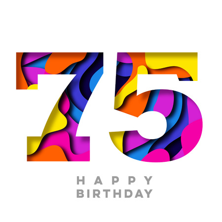 Number 75 Happy Birthday colorful paper cut out design