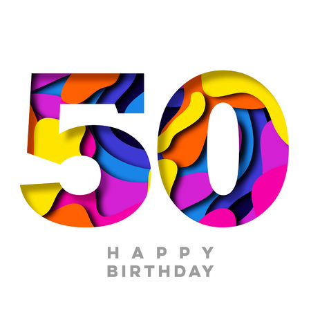 Number 50 Happy Birthday colorful paper cut out design
