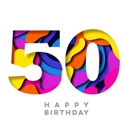 Nummer 50 Happy Birthday buntes Papier ausgeschnittenes Design