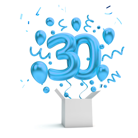 Happy 30th birthday blue surprise balloon and box. 3D Rendering Imagens