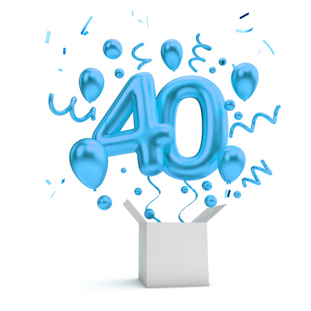 Happy 40th birthday blue surprise balloon and box. 3D Rendering Stok Fotoğraf