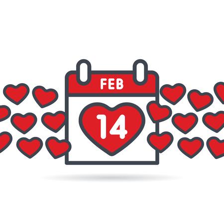 Valentines Day calendar. February 14th illustration