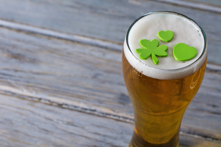 St Patrick's day beer with green shamrock