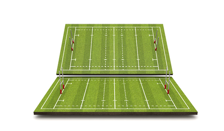 Rugby pitch with lines and goals. 3D Rendering Stok Fotoğraf