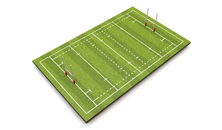 Rugby pitch with lines and goals. 3D Rendering Stock Photo