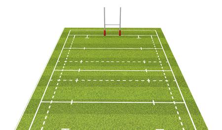 Terrain de rugby avec lignes et buts. Rendu 3D