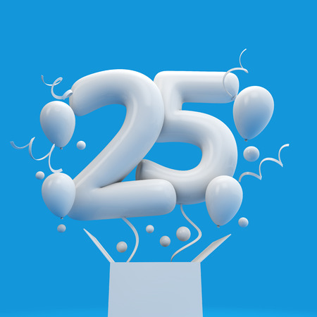 Happy 25th birthday surprise balloon and box. 3D Rendering Imagens