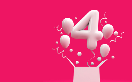 Happy 4th birthday surprise balloon and box. 3D Rendering Reklamní fotografie