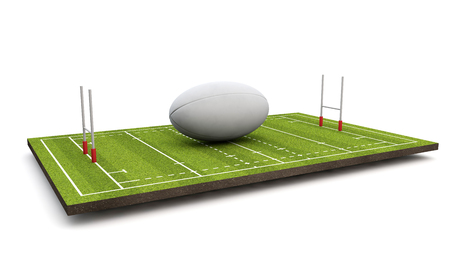 Rugby pitch with ball and goal posts. 3D Render