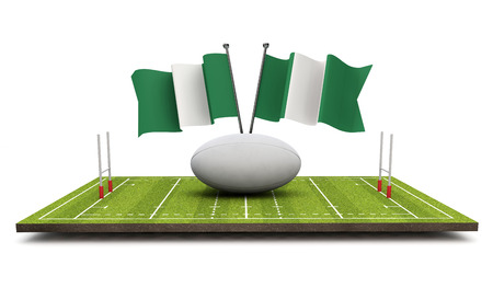 Nigeria flags with a rugby ball and pitch. 3D Rendering