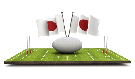 Japan flags with a rugby ball and pitch. 3D Rendering