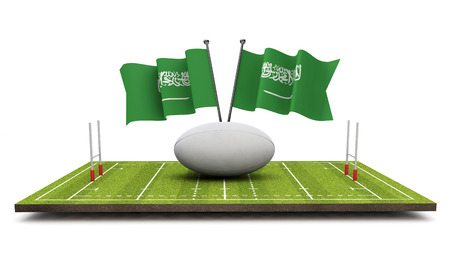 Saudi Arabia flags with a rugby ball and pitch. 3D Rendering