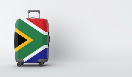 Travel suitcase with the flag of South Africa. Holiday destination. 3D Render