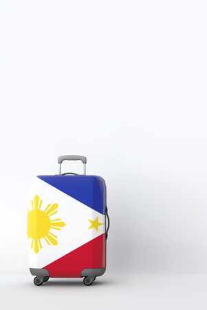 Travel suitcase with the flag of Philippines. Holiday destination. 3D Render