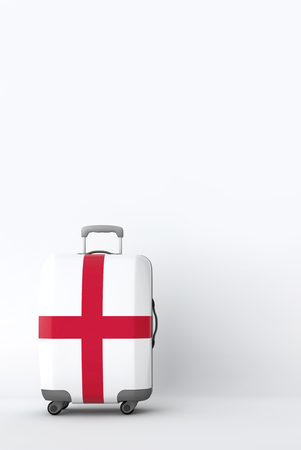 Travel suitcase with the flag of England. Holiday destination. 3D Render Reklamní fotografie