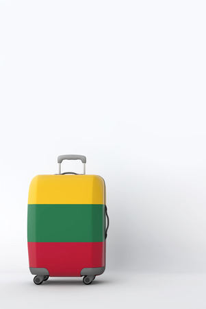 Travel suitcase with the flag of Lithuania. Holiday destination. 3D Render