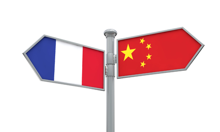 China and France flag sign moving in different direction. 3D Rendering