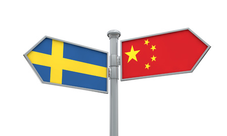 China and Sweden flag sign moving in different direction. 3D Rendering Stok Fotoğraf