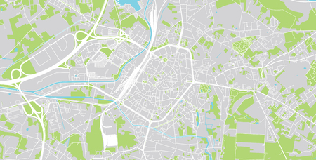 Urban vector city map of Mons, Belgium