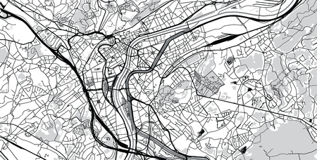 Urban vector city map of Liege, Belgium
