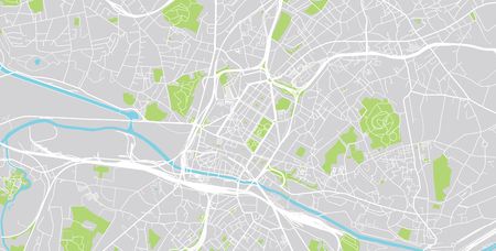 Urban vector city map of Charleroi, Belgium