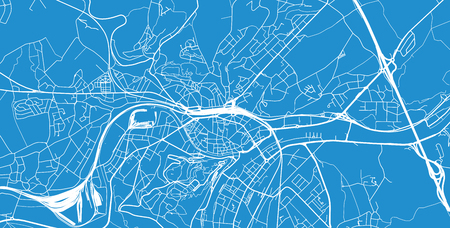 Urban vector city map of Namur, Belgium Ilustracja