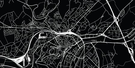 Urban vector city map of Namur, Belgium Çizim