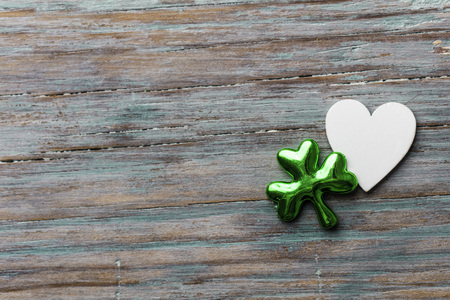 St Patricks Day background with clover leaf and heart