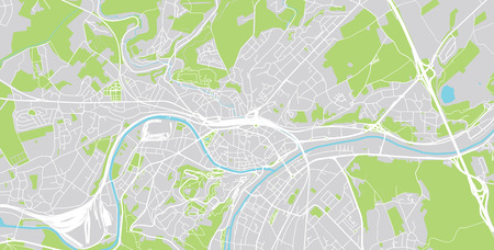 Urban vector city map of Namur, Belgium Ilustrace