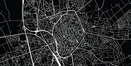 Urban vector city map of Bruges, Belgium
