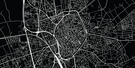 Urban vector city map of Bruges, Belgium
