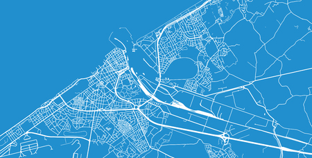 Urban vector city map of Ostend, Belgium