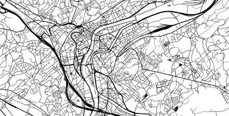 Urban vector city map of Liege, Belgium