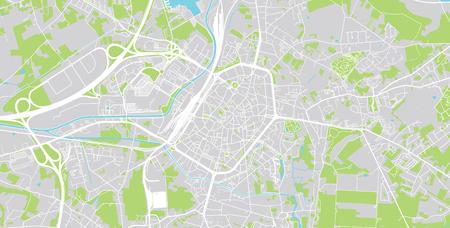 Urban vector city map of Mons, Belgium