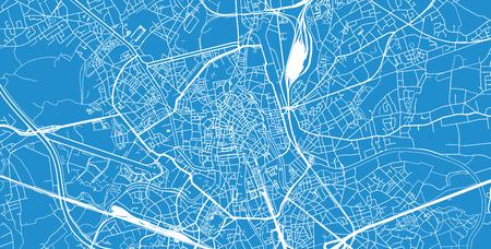 Urban vector city map of Ghent, Belgium