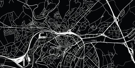 Urban vector city map of Namur, Belgium Ilustração