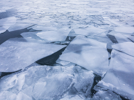 Cracked ice on the surface of the ocean. Global warming concept Stockfoto