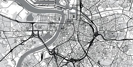 Urban vector city map of Antwerp, Belgium