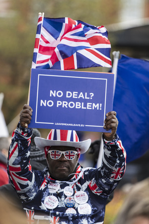 LONDON, UK - March 13, 2019: Brexit supporters campaigning to leave the EU
