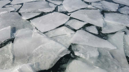 Ice on the ocean melting and cracking. Climate change.