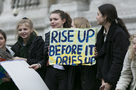 LONDON, UK - March 15, 2019:Thousands of students and young people protest in London as part of the youth strike for climate march Editorial