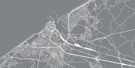 Urban vector city map of Ostend, Belgium