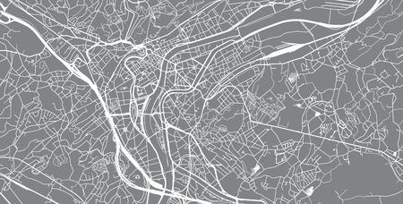 Urban vector city map of Liege, Belgium Vektoros illusztráció